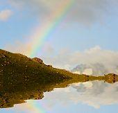 stock photo of gaul  - rainbow in mountains - JPG