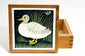 Wood Box With Duck Painting On Lid