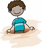 Illustration of a Kid Caught in a Hole