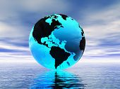 picture of world-globe  - World globe and ocean - JPG