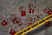 picture of crime scene  - Bloody red palm prints over stone background at crime scene illustrating crime scene concept - JPG