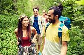 adventure, travel, tourism, hike and people concept - group of smiling friends walking with backpack poster