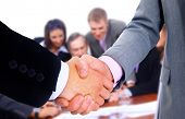 business team and handshake