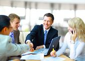 stock photo of meeting  - Business people shaking hands - JPG