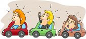 Illustration of Angry Motorists Caught in a Traffic Jam