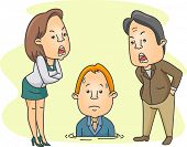 Illustration of a Man Being Scolded by His Bosses