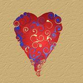 On beige textured heart