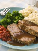 Mama's Meatloaf with Mashed Potato Broccoli Tomatoes and Gravy