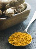 Spoon of Turmeric Powder with fresh Turmeric Root