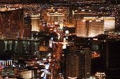 stock photo of las vegas casino  - Las Vegas Skyline looking down the Strip at night - JPG