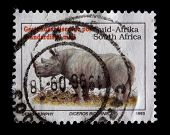 South Africa - Circa 1993: A Stamp Printed In South Africa Shows A Black Rhinoceros, Diceros Bicorni