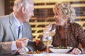 Постер, плакат: Старший пара вместе обедали в ресторане