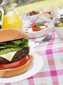 Al Fresco Dining With Hamburgers And Salad