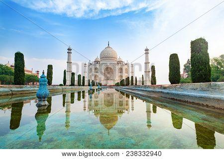 Taj Mahal Front View Reflected