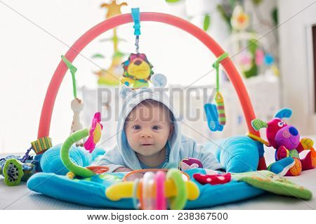 Cute Baby Boy On Colorful