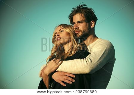poster of Couple In Love. Family Couple Of Man And Sexy Girl, Trust. Muscular Man And Woman With Long Blond Ha