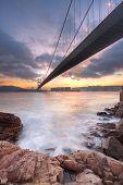 stock photo of tsing ma bridge  - bridge at sunset moment Tsing ma bridge - JPG