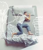 Top View Photo Of Young Man Sleeping In A Big White Bed. Dreams Concept. He Is Dreaming About Scout, poster