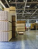 Modern Production And Storage Room With Lumber Produced And Ready For Shipment. Storage And Producti poster