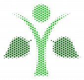Halftone Hexagon Ecology Man Icon. Pictogram On A White Background. Vector Mosaic Of Ecology Man Ico poster