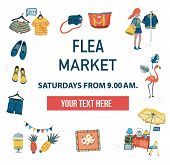 The Invitation Poster To Visit The Market Fair Like Flea Market, Weekend Market, Or Night Market, Ca poster