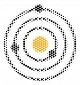 Halftone Hexagon Solar System Icon. Pictogram On A White Background. Vector Mosaic Of Solar System I poster