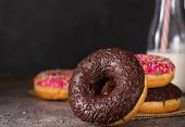 Donut. Sweet Icing Sugar Food. Dessert Colorful Snack. Glazed Sprinkles. Treat From Delicious Pastry poster
