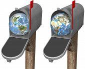 stock photo of eastern hemisphere  - The world delivered to a mailbox in eastern hemisphere and western hemisphere globe set - JPG