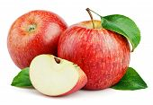Ripe Red Apple Fruits With Apple Slice And Apple Green Leaves Isolated On White Background. Red Appl poster