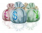 Bolsa de dinero sacos que contienen monedas