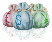 Money Bag Sacks Containing Currencies