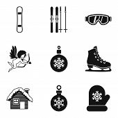 Winter Journey Icons Set. Simple Set Of 9 Winter Journey Vector Icons For Web Isolated On White Back poster