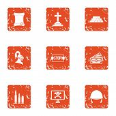 Challenge Icons Set. Grunge Set Of 9 Challenge Vector Icons For Web Isolated On White Background poster