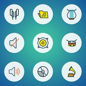 Audio Icons Colored Line Set With Drum, Strings, Off And Other Template  Elements. Isolated  Illustr poster