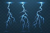 Thunder Bolt And Lightnings, Realistic Thunderstorm Electricity Flash. Electric Blue Glowing  Lightn poster