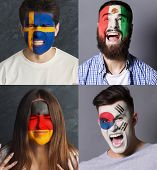 Emotional Soccer Fans With Painted Flags Of Germany, Mexico, Sweden And South Korea On Faces. Rooter poster