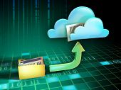 Files being uploaded from a folder to an on-line cloud storage service. Digital illustration.