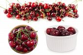 Set Of Cherries. Fresh Red Cherries Lay On White Isolated Background With Copy Space. Background Of  poster