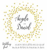 Golden Splash Or Glittering Spangles Round Frame With Wedding Calligraphy Font. Wedding Invitation E poster