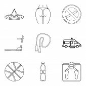 Wife Health Icons Set. Outline Set Of 9 Wife Health Vector Icons For Web Isolated On White Backgroun poster