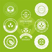 Set Of Labels And Stickers For Organic Food And Drink, And Natural Products. Vector Illustration Con poster