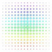 Galaxy Icon Spectral Halftone Pattern. Vector Galaxy Objects Arranged Into Halftone Grid With Vertic poster