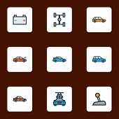 Automobile Icons Colored Line Set With Sedan, Carwash, Crossover And Other Machine  Elements. Isolat poster