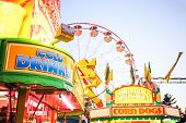 Generic background of food stands at a traveling carnival poster