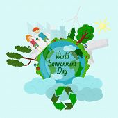 World Environment Day, Concept, Green Eco Earth, Vector Illustration Flat, Grass, Trees, Ecology, Sy poster