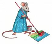 Mouse Making A Painting: Color Pencil Art