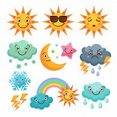 Cartoon Weather Icons Set. Funny Pictures Isolate On White Background. Illustration Of Weather Sunny poster