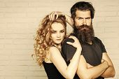 Fashion, Beauty, Style Concept. Girl And Bearded Hipster. Hipsterism, Subculture, Trend. Man With Be poster