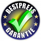 Best Preis Garantie/Schaltflächenbezeichnung, deutsche Version Bestpreis Garantie blau