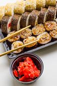 Sushi Set: Sushi Roll With Salmon And Sushi Roll With Smoked Eel, Selective Focus. poster